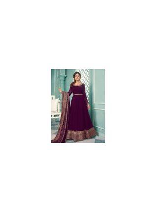 Full Sleeves Wine Color Georgette Base Zari Work Designer Gown