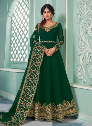 Designer Green Color Georgette Base With Sequins And Zari work Gown