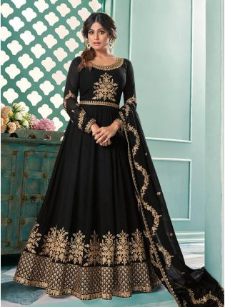 Georgette Fabric Black Color Zari Work Designer Gown With Dupatta