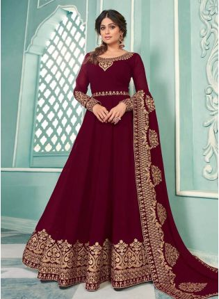 Georgette Base Maroon Color Zari Work Gown With Dupatta