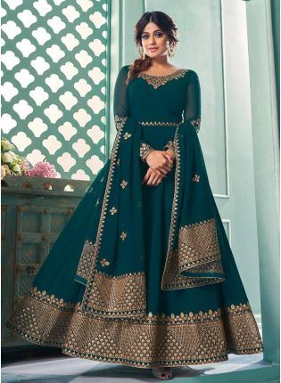 Teal Green Color Georgette Base Sequins Work Gown With Dupatta
