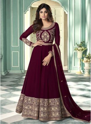 Glamorous Wine Color Georgette Base Embroidered Gown