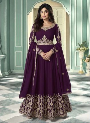 Elegant Purple Color Georgette Base Embroidered Gown