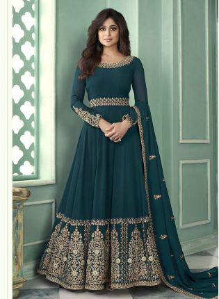 Magnificent Olive Green Color Georgette Base Embroidered Gown