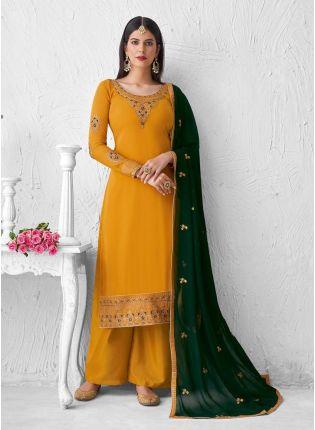 Adorable Zari And Resham Work Yellow Color Palazzo Salwar Suit