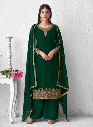 Green Color Zari Work Terrific Look Palazzo Salwar Suit With Laced Dupatta