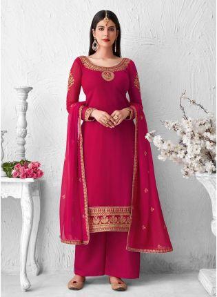 Rani Pink Color Zari And Thread Work Palazzo Salwar Kameez