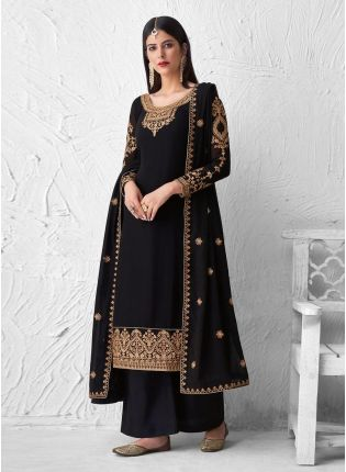 Black Color Palazzo Suit Embellished With Thread And Zari Work