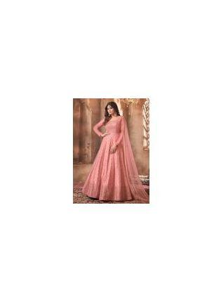Exquisite Pink Color Soft Net Base Designer Gown