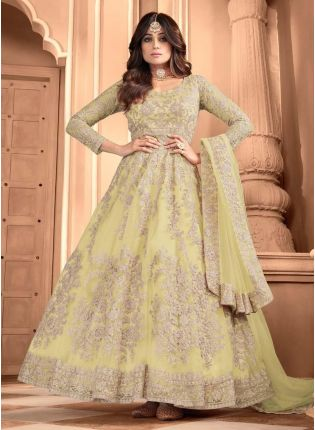Fascinating Yellow Color Soft Net Base Designer Gown