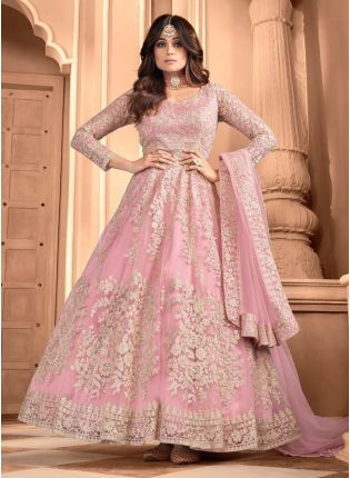 Beautiful Pink Color Soft Net Base Designer Gown