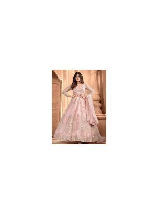 Elegant Blush Pink Color Soft Net Base Designer Gown