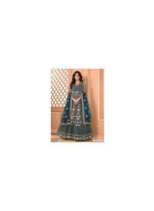 Magnificent Pine Green Color Soft Net Base Designer Gown