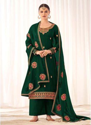 Beautiful Green Color Silk Base Palazzo Salwar Suit