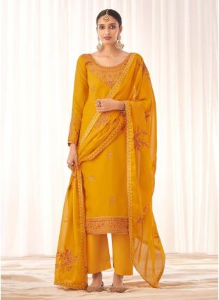 Gorgeous Mustard Yellow Color Silk Base Pant Style Salwar Suit