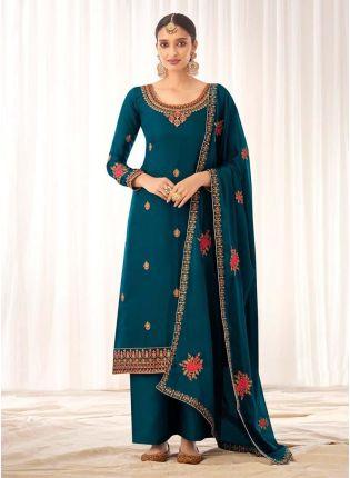 Magnificent Teal Green Silk Base Palazzo Salwar Suit