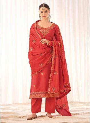 Delightful Coral Peach Silk Base Pant Style Salwar Suit