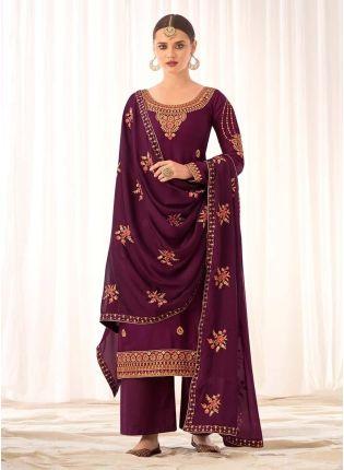 Elegant Wine Color Silk Base Pant Style Salwar Suit