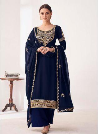Considerate Navy Blue Color Punjabi Suit With Georgette Base Salwar Kameez