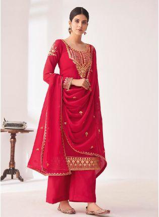 Fashionable Pink color Punjabi Suit With Georgette Base Salwar Kameez
