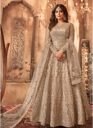 Glamorous Cream Color Salwar Kameez Suit With Embroidery Work