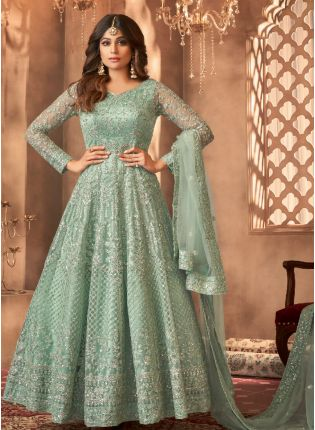 Gorgeous Green Color Soft Net Base With Embroidered work