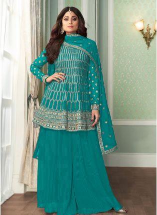 Elegant Look Turquoise Color Georgette Base Peplum Style Sharara Suit