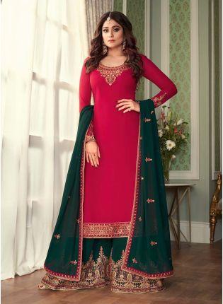 Red Color Georgette Fabric Zari Work Sharara Salwar Suit