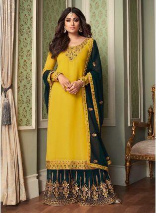 Fascinating Zari Work Georgette Fabric Yellow Color Sharara Salwar Suit