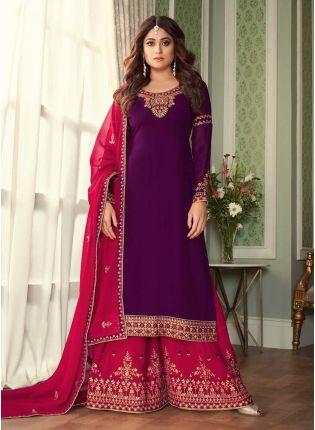 Purple Color Georgette Fabric Full Sleeves Zari Work Sharara Salwar Suit