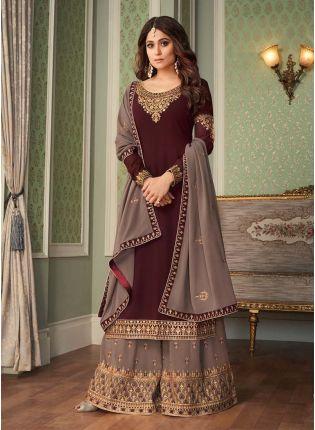 Exquisite Brown Color Georgette Base Zari Work Sharara Salwar Kameez