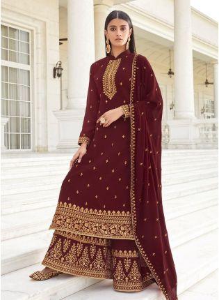 Collar Neck Maroon Color Georgette Base Palazzo Salwar Suit
