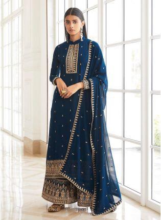 Dark Blue Color Dori Work Full-Length Sleeves Palazzo Salwar Suit