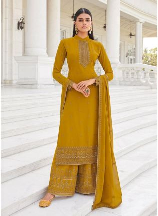 Ochre Yellow Color Georgette Material Straight Top Palazzo Suit