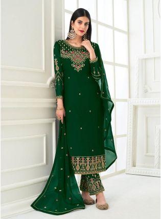 Astounding Zari Work Green Color Stone And Zari Work Pant Style Salwar Suit