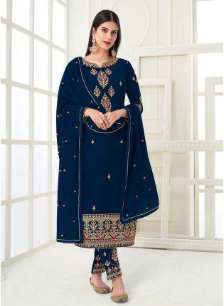 Navy Blue Color Elegant Look Zari Work Pant Style Salwar Suit