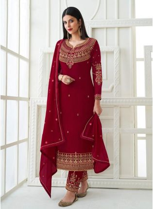 Red Color Zari Work Round With V-Neck Pant Style Salwar Kameez