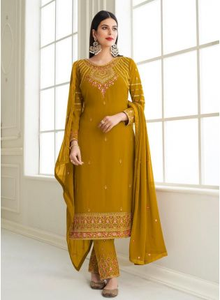 Georgette Fabric Zari And Stone Work Ochre Yellow Color Pant Style Salwar Suit