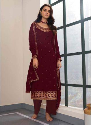 Georgette Fabric Zari Work Maroon Color Amazing Palazzo Salwar Suit