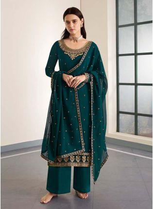Zari Work Turquoise Color Georgette Material Palazzo Salwar Kameez