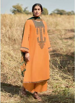 Pakistani Look Orange Color Different Sleeves Palazzo Suit With Beautiful Dupatta