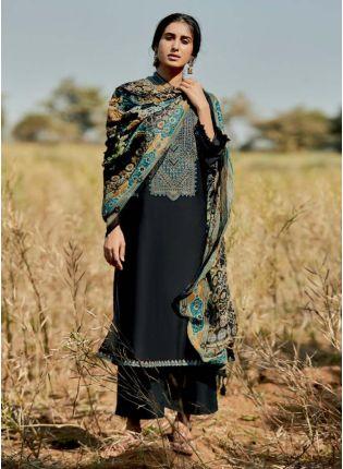 Lavishing Black Color Art Silk Base Pakistani Style Palazzo Suit With Printed Dupatta