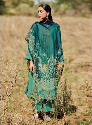 Shop Turquoise Color Art Silk Base Pakistani Style Palazzo Suit With Different Dupatta