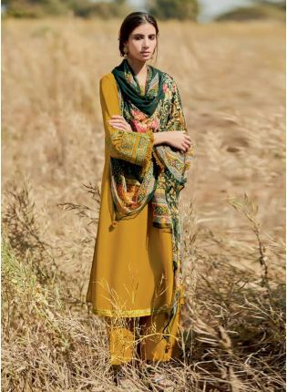 Attractive Ochre Yellow Color Art Silk Base Palazzo Suit With Green Color Dupatta