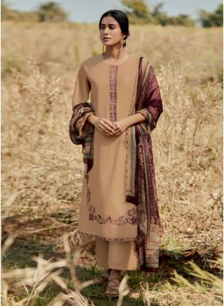 Admirable Beige Color Art Silk Base Pakistani Look Palazzo Suit With Printed Dupatta