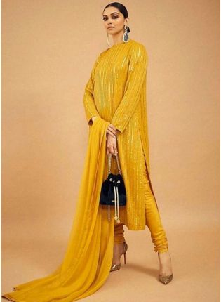 Best Mustard Sequin Zari Floor Length Churidar Suit Set