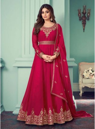 Sequins And Zari Work Deep Pink Color Georgette Fabric Designer Gown