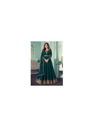 Admiring Georgette Base Teal Green Color Zari work Designer Gown
