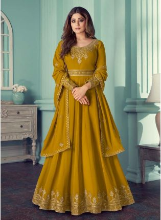 Adorable Ochre Yellow Color Georgette Base Zari Work Gown With Dupatta