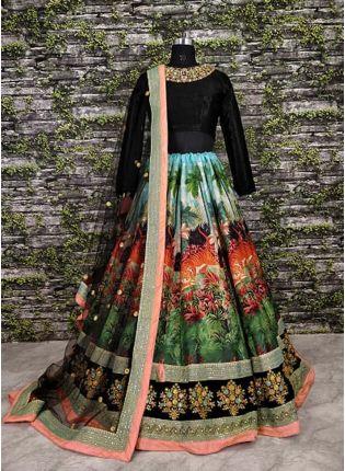 Decent Multi Color Cord Work Designer Lehenga Choli